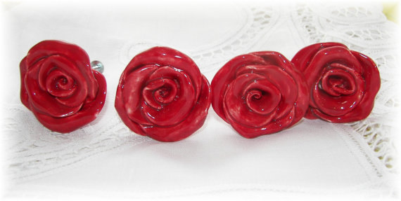Rose Knobs Red Flower Ceramic Drawer Knobs Pulls Kitchen